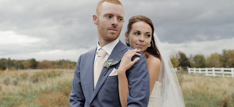 Beautiful Bride and Groom on an Overcast Day