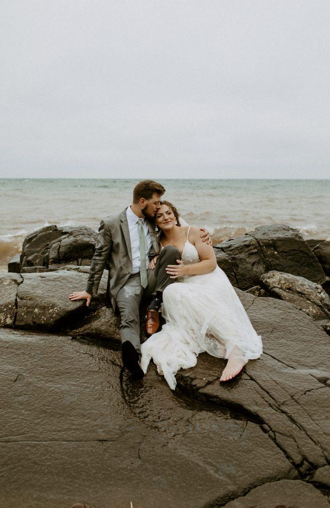 Bride and groom portrait at Brighton Beach